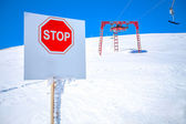 High mountains warning sign — Stock Photo