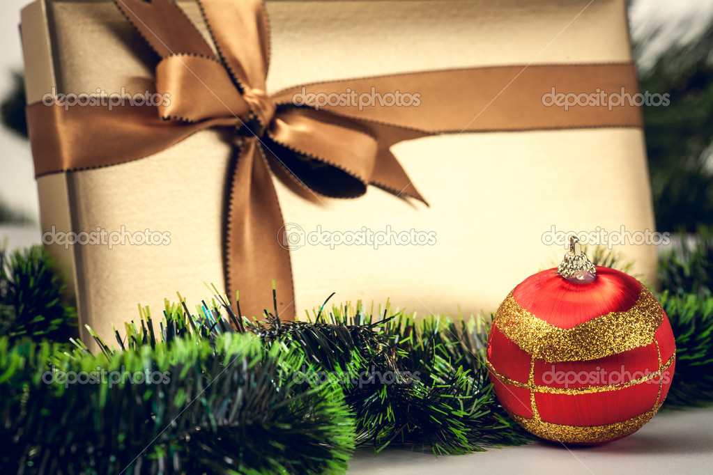 Christmas gift box with a nice decoration  Stock Photo #16931553