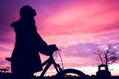 Flicka vid solnedgången — Stockfoto
