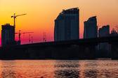 Sunset over bridge — Stock Photo