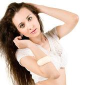 Brunette on white background — Stock Photo