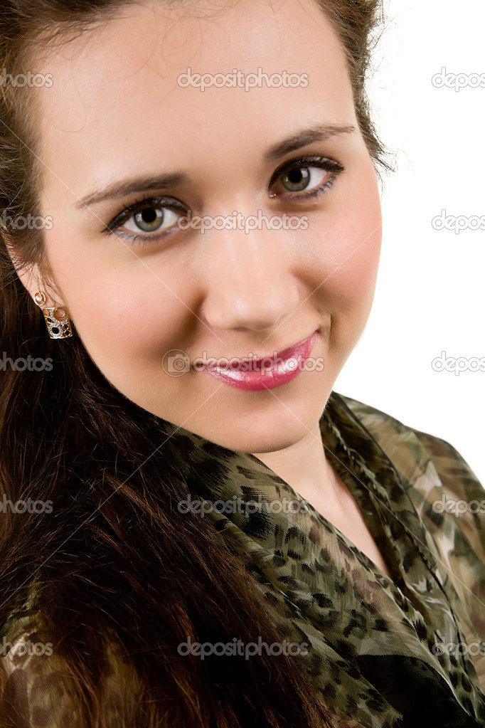 Portrait of a beautiful brunette on white background  Stock Photo #14780461