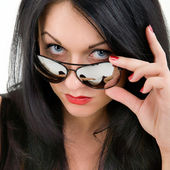 Brunette in mirror glasses — Photo