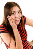 Girl in a red striped shirt — Stock Photo