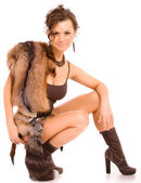 Woman in a fur suit — Stock Photo