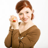 Girl in a brown blouse — Stock Photo