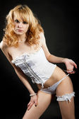 Woman in white lingerie — Stock Photo