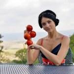 Постер, плакат: Girl with tomato