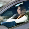 Girl in traffic jam — Stock Photo