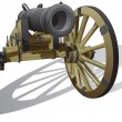 Ancient field gun - Stock Vector