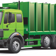 Stock Vector: Green garbage truck