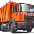 Stock Vector: Orange garbage truck