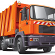 Orange garbage truck - Stock Vector