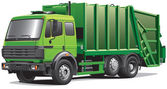 Green garbage truck — Stock Vector