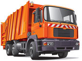 Orange garbage truck — Stock Vector