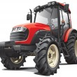 Red tractor — Stockvectorbeeld