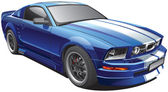 Blue muscle car — Vector de stock