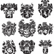 Set of heraldic silhouettes No3 — Stock Vector