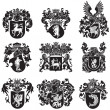 Stock Vector: Set of heraldic silhouettes No5
