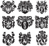Set of heraldic silhouettes No1 — Stock Vector