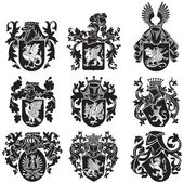 Set of heraldic silhouettes No2 — Stock Vector