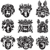 Set of heraldic silhouettes No5 — Stock Vector