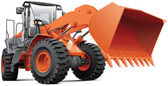 Orange front-end loader — Stock Vector