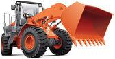 Orange front-end loader — Stock Vector