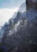 Snowfall in high mountains — Stock Photo