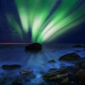 Aurora borealis over the sea — Stock Photo