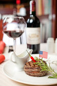 Ruddy steak and red wine — Foto de Stock