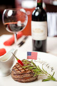 Ruddy steak and red wine — Stok fotoğraf