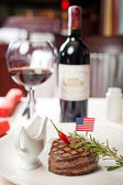 Ruddy steak and red wine — Stock Photo