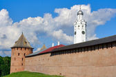 View on a fortification, Metropolitan Tower and a Belltower in Novgorod — Stock Photo