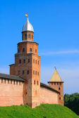 View on a fortification and a tower in Novgorod — Stock Photo