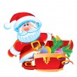 Father Christmas and a chest with toys — Vettoriale Stock  #1525265