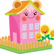 Nice house with eyes in the style of Kawaii — Stock Vector