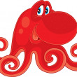 Red octopus — Stock Vector