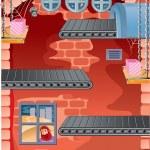 Image running the factory floor — Stock Vector