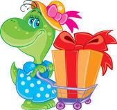 Dinosaur with shopping — Stock Vector