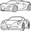 Stock Vector: Set sketch of cars