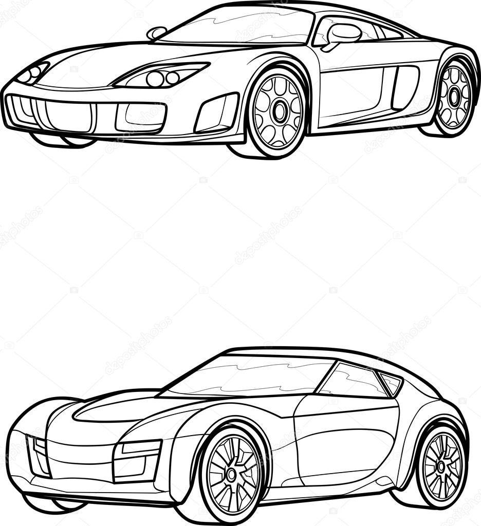 Outline drawing car on white Isometric Drawing Car