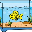 One small fish in an aquarium — Stock Vector