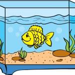 One small fish in an aquarium — Stock Vector