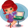 Girl works at the computer — Stock Vector