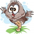 Cute owl sitting on the ground — Stock Vector
