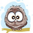 Cute owl sitting on a branch — Stock Vector