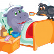 Patient hippo treats crow — Stock Vector