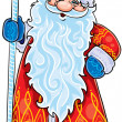 Santa Claus with a fabulous staff — Stock Vector