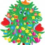 Merry christmas fir tree — Vector de stock